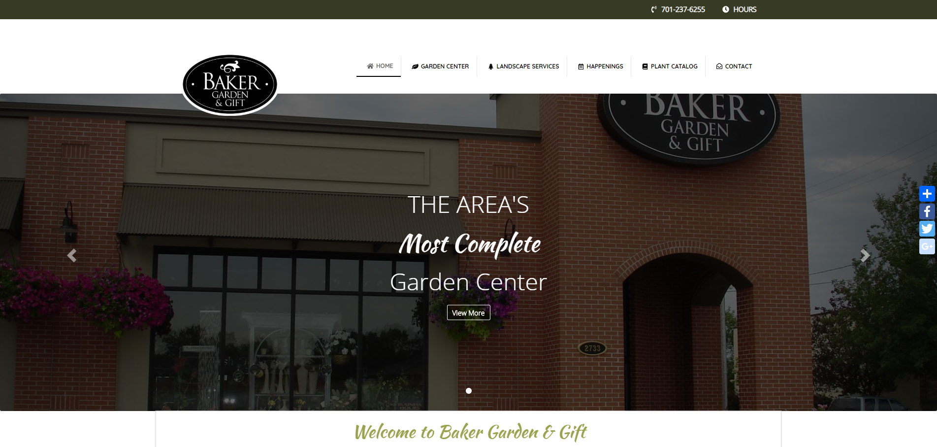 baker nursery website screenshot