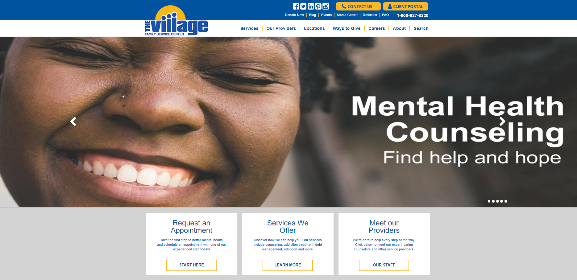 village family services homepage screenshot