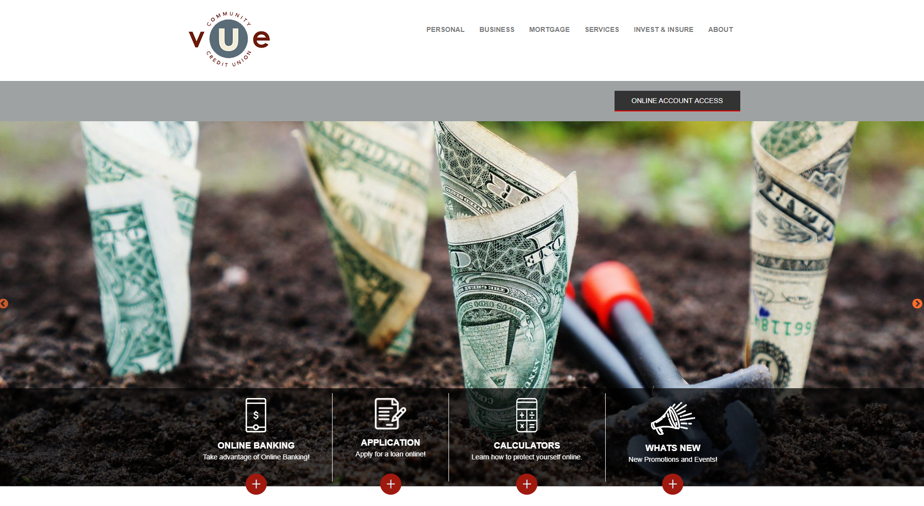 vue community credit union website homepage